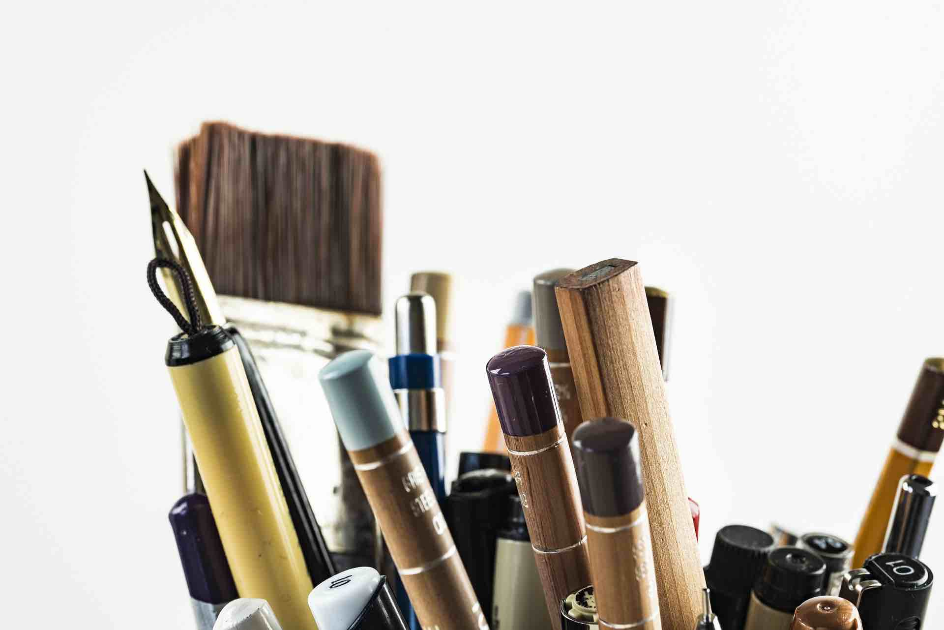 Photo of a Scenic Artist's pens and brushes.